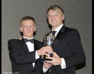Ryan Dalziel receives his trophy from Dave Forster